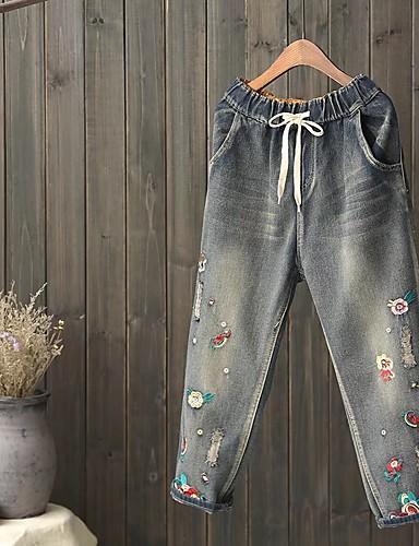 Damen Street Schick Mittlere Hüfthöhe Mikro-elastisch Schlank Jeans Hose,Seide Baumwolle Acryl Frühling Sommer Herbst Solide Stickerei