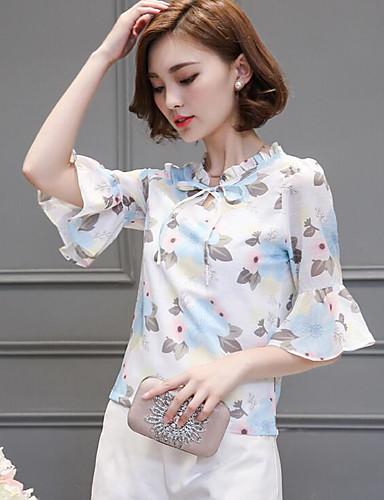 Damen Druck Einfach Lässig/Alltäglich Bluse,Ständer Halbe Ärmel Baumwolle