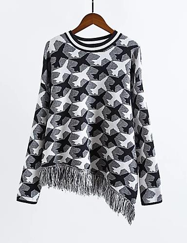 Damen Standard Pullover-Ausgehen Lässig/Alltäglich Einfach Niedlich Druck Einfarbig Rundhalsausschnitt Langarm Andere Winter Herbst