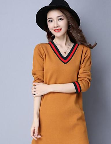 Damen Lang Pullover-Lässig/Alltäglich Solide Druck V-Ausschnitt Langarm Wolle Andere Herbst Mittel Mikro-elastisch