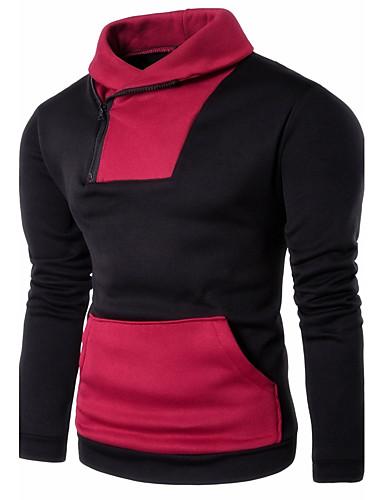 Herren Pullover Sport in der Natur Festtage Ausgehen Lässig/Alltäglich Einfach Street Schick Einfarbig Patchwork Hemdkragen