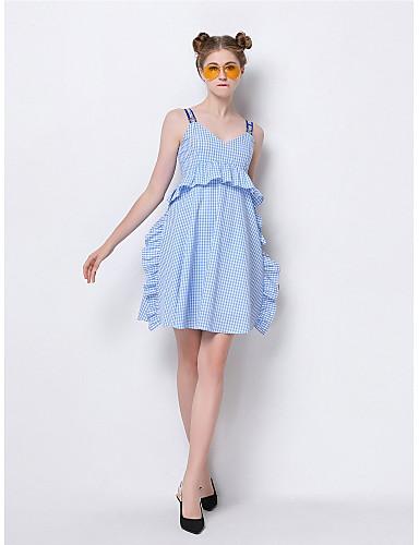 Damen Hülle Kleid-Ausgehen Niedlich Druck Gurt Übers Knie Ärmellos Polyester Sommer Mittlere Hüfthöhe Mikro-elastisch Mittel