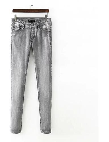 Damen Street Schick Mittlere Hüfthöhe Mikro-elastisch Lose Breites Bein Jeans Hose,Baumwolle Leinen Winter Frühling Sommer Herbst Solide