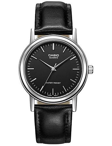 Casio Herrn Modeuhr Armbanduhr Armbanduhren für den Alltag Japanisch Quartz Wasserdicht Leder Band Cool Bequem Schwarz