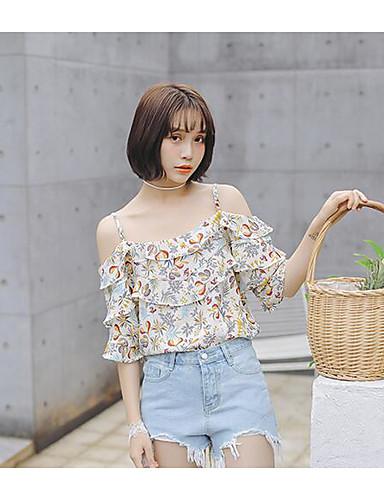 نساء قميص كاجوال/يومي بسيط طباعة مع حمالة نصف كم بوليستر