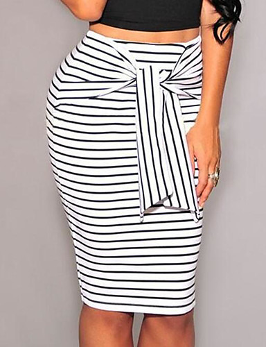 cheap Women's Skirts-Women's Daily / Work Bodycon Skirts - Striped / Color Block Bow Lace up Fine Stripe Black White S M L / Slim