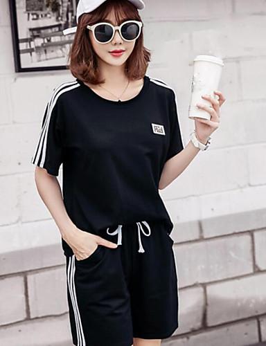 Damen Solide Einfach Lässig/Alltäglich Kapuzenshirt Hose Anzüge,Rundhalsausschnitt Sommer Kurzarm Mikro-elastisch