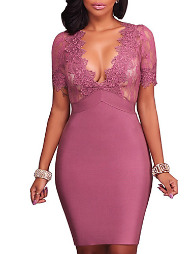 Women's Club Street chic Bodycon Lace Dress - Patchwork Lace Backless High Rise Mini V Neck