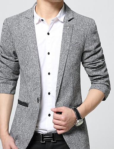 Herren Solide Street Schick Ausgehen Lässig/Alltäglich Blazer,Steigendes Revers Frühling Herbst Lange Ärmel Standard Baumwolle Polyester