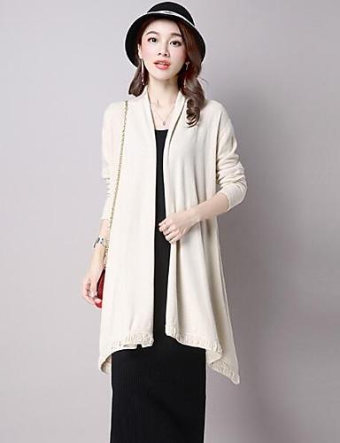 Damen Lang Strickjacke-Lässig/Alltäglich Solide V-Ausschnitt Langarm Wolle Andere Herbst Winter Mittel Mikro-elastisch