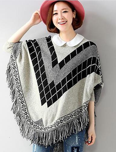 Damen Standard Pullover-Lässig/Alltäglich Einfarbig Rundhalsausschnitt Langarm Baumwolle Herbst Mittel Mikro-elastisch