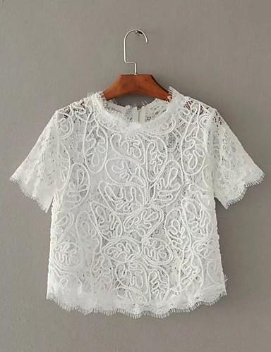 Damen Solide Einfach Sexy Street Schick Ausgehen Lässig/Alltäglich T-shirt,Ständer Sommer Herbst Kurzarm Baumwolle Kunstseide Polyester