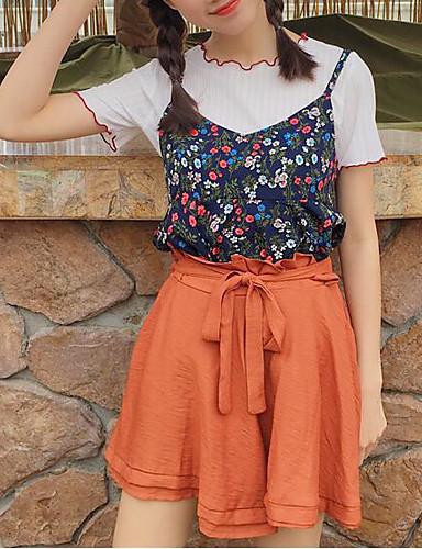 Damen Einfach Mittlere Hüfthöhe Mikro-elastisch Kurze Hosen Lose Breites Bein Hose Solide