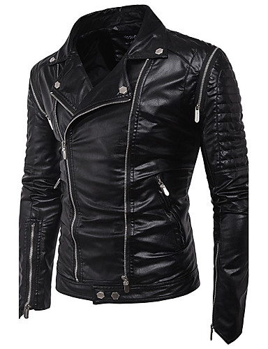 Men's Punk & Gothic Slim Leather Jacket - Solid Colored / Long Sleeve