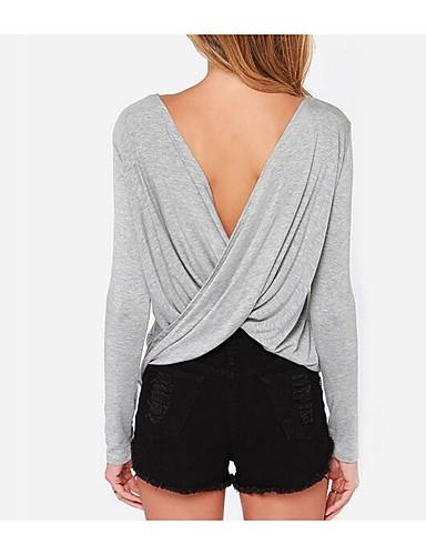 Damen Solide Einfach Lässig/Alltäglich T-shirt,V-Ausschnitt Frühling Langarm Baumwolle Undurchsichtig