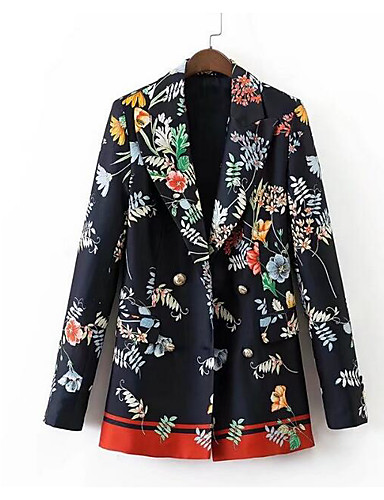 Women's Simple Casual Blazer-Solid Colored Shirt Collar / Spring / Fall / Floral Patterns