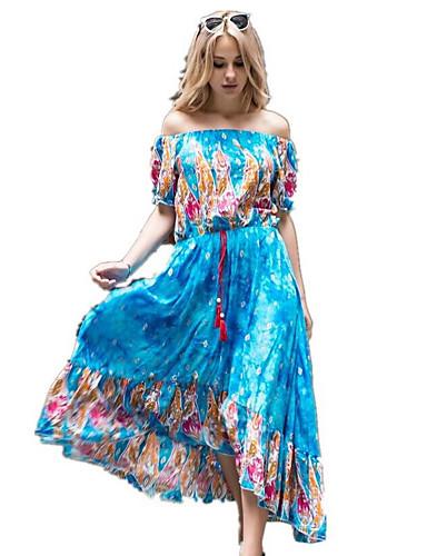 Damen Swing Kleid-Lässig/Alltäglich Einfach Blumen Bateau Maxi Kurzarm Baumwolle Sommer Mittlere Hüfthöhe Unelastisch Mittel