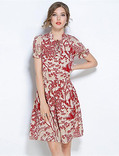 Damen Hülle Kleid-Lässig/Alltäglich Blumen V-Ausschnitt Knielang Kurzarm Polyester Sommer Mittlere Hüfthöhe Mikro-elastisch Mittel