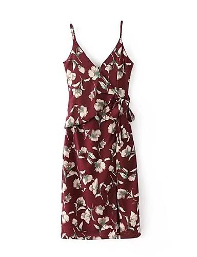 Damen Lose Kleid-Festtage Ausgehen Lässig/Alltäglich Einfach Street Schick Blumen V-Ausschnitt Midi Ärmellos Seide Baumwolle Frühling