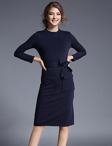 Damen Bodycon Kleid-Lässig/Alltäglich Solide Rundhalsausschnitt Knielang Langarm Baumwolle Frühling Herbst Mittlere Hüfthöhe Unelastisch