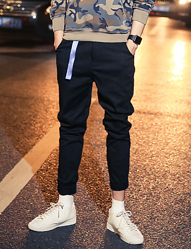 Men's Street chic / Punk & Gothic Plus Size Cotton Slim / Chinos Pants - Solid Colored / Sports