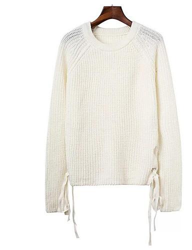 Damen Standard Pullover-Lässig/Alltäglich Einfach Solide Rundhalsausschnitt Langarm Baumwolle Herbst Winter Mittel Mikro-elastisch