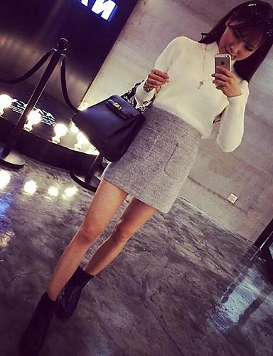 Damen Standard Pullover-Lässig/Alltäglich Einfach Solide Rollkragen Langarm Baumwolle Winter Dick Mikro-elastisch