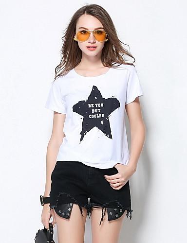 Damen Druck Einfach Ausgehen T-shirt,Rundhalsausschnitt Sommer Kurzarm Polyester