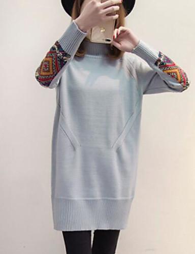 Damen Etuikleid Kleid-Lässig/Alltäglich Solide Rollkragen Übers Knie Langarm Baumwolle Leinen Herbst Mittlere Hüfthöhe Mikro-elastisch