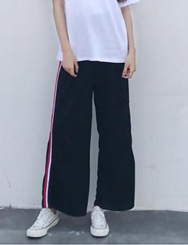 Damen Einfach Mittlere Hüfthöhe Mikro-elastisch Aktiv Gerade Hose Einfarbig