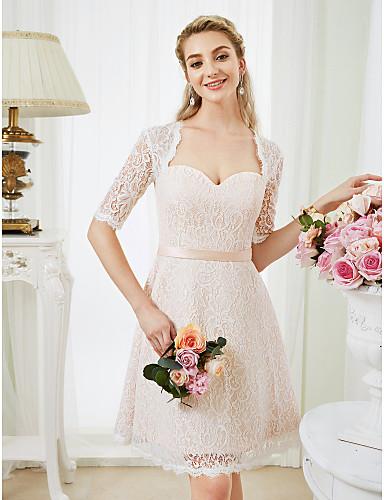 A-vonalú Anna királynő Térdig érő Az egész csipke Egyéni esküvői ruhák val vel Selyemövek / Szalagok által LAN TING BRIDE®