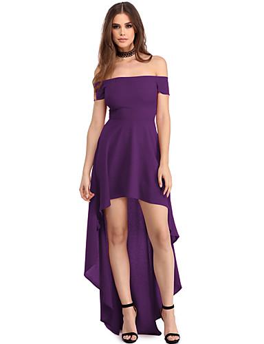 Damen Lose Kleid-Party Klub Sexy Solide Bateau Asymmetrisch Kurzarm Polyester Elasthan Sommer Hohe Hüfthöhe Dehnbar Mittel