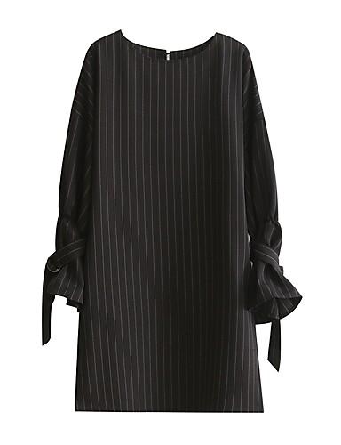 Damen Hülle Kleid-Party Lässig/Alltäglich Einfach Street Schick Solide Rundhalsausschnitt Knielang Übers Knie Langarm Baumwolle Polyester