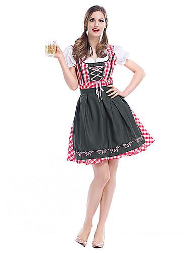 billige Cosplay og kostumer-Tjenestepige Kostumer Oktoberfest Cosplay Cosplay Kostumer Maskerade Voksne Dame Karneval Oktoberfest Festival / Højtider Elastin Tactel Lys pink Karneval Kostume Anden Vintage