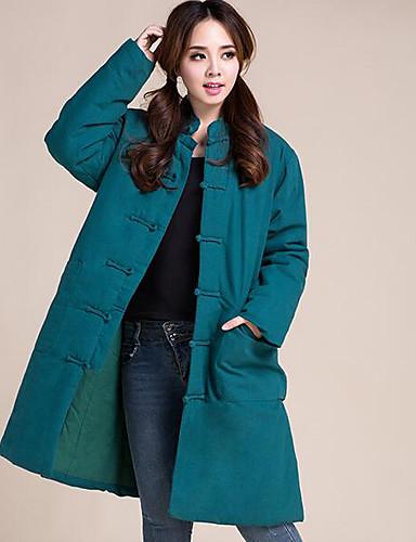 Damen Solide Einfach Lässig/Alltäglich Mantel,Ständer Winter Lange Ärmel Lang Andere