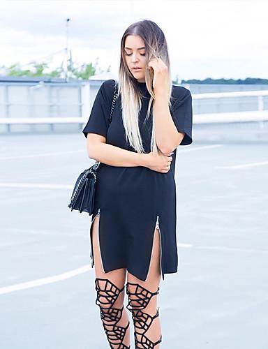 Damen Lose Kleid-Ausgehen Street Schick Solide Rundhalsausschnitt Übers Knie Halbe Ärmel Baumwolle Frühling Sommer Hohe Hüfthöhe