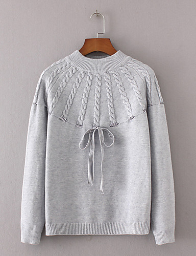Damen Standard Pullover-Ausgehen Lässig/Alltäglich Einfach Niedlich Solide Rundhalsausschnitt Langarm Andere Frühling Herbst Dünn Mittel