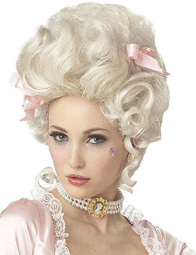 povoljno Perike i ekstenzije-Sintetičke perike / Perike za maškare Kovrčav Kardashian Stil Capless Perika Bijela Bijela Sintentička kosa Marie Antoinette Žene Bijela Perika Srednja dužina StrongBeauty