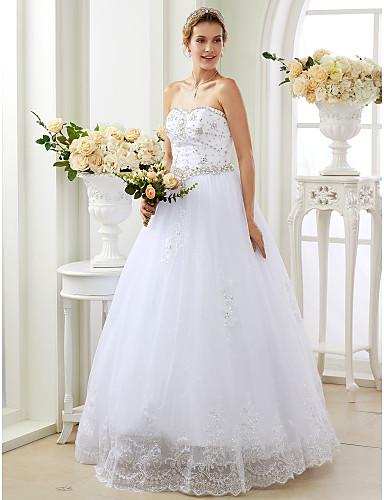 De Baile Decote Princesa Longo Renda Tule Vestido de casamento com Apliques Detalhes em Cristal de LAN TING BRIDE®