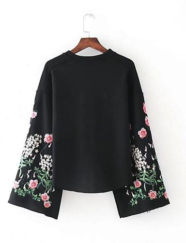 Damen Langarm Pullover Solide Druck Baumwolle