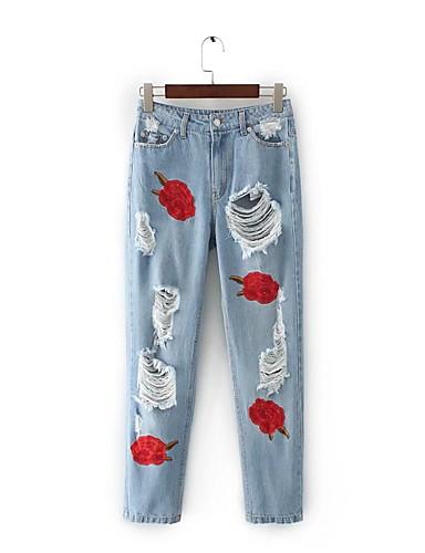 Damen Street Schick Mittlere Hüfthöhe Mikro-elastisch Schlank Jeans Hose,Baumwolle Leinen Winter Frühling Sommer Herbst Blumen Stickerei