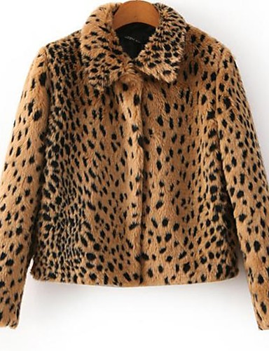 Women's Work Going out Sophisticated Street chic Faux Fur Jacket - Leopard Shirt Collar