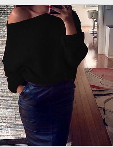 Damen Solide Einfach Lässig/Alltäglich T-shirt,Schulterfrei Langarm Baumwolle