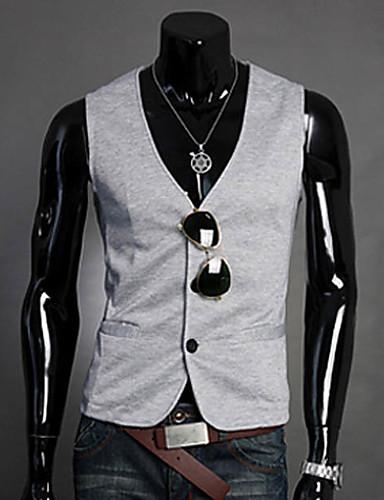 رجال Vest عمل ذهاب للخارج كاجوال/يومي بسيط سادة ربيع خريف رقبة V بدون أكمام قطن بوليستر عادية
