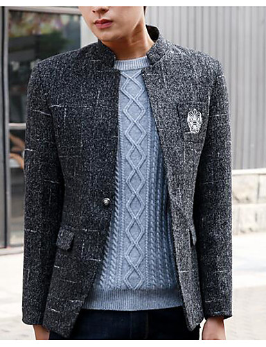 Herren Druck Einfach Lässig/Alltäglich Arbeit Blazer,Ständer Herbst Lange Ärmel Standard Polyester