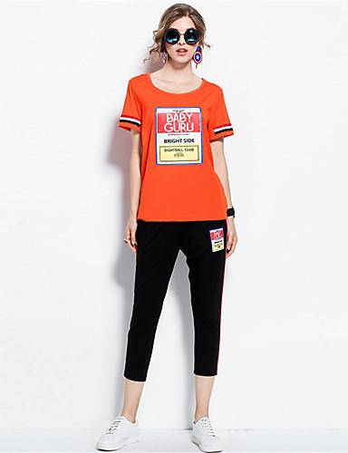 Damen Solide Druck Einfach Lässig/Alltäglich T-Shirt-Ärmel Hose Anzüge,Rundhalsausschnitt Sommer Kurzarm Mikro-elastisch