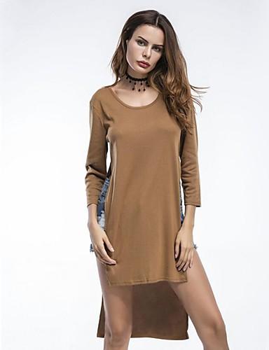 Damen Hülle Kleid-Lässig/Alltäglich Sexy Niedlich Solide Rundhalsausschnitt Knielang Langarm Baumwolle Sommer Mittlere Hüfthöhe