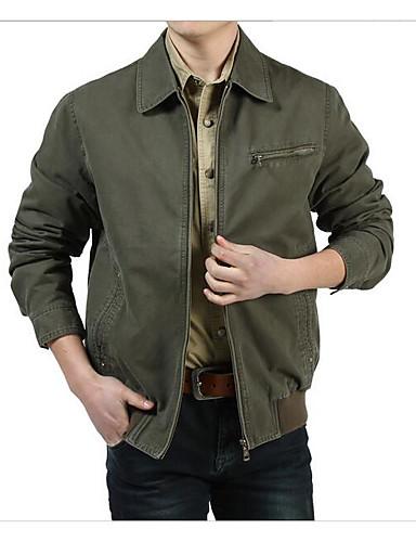 Herrn - Solide Einfach Freizeit Jeansjacke Baumwolle