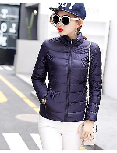 Damen Gefüttert Mantel Einfach Aktiv Ausgehen Solide Gestreift Druck-Baumwolle Acryl Andere Polypropylen Langarm