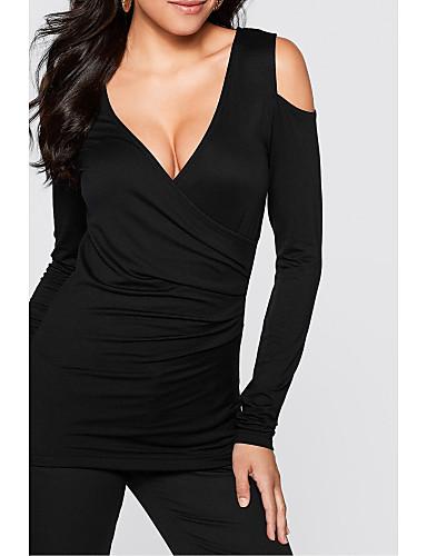 Damen Solide Sexy Lässig/Alltäglich T-shirt,V-Ausschnitt Herbst Langarm Polyester Mittel